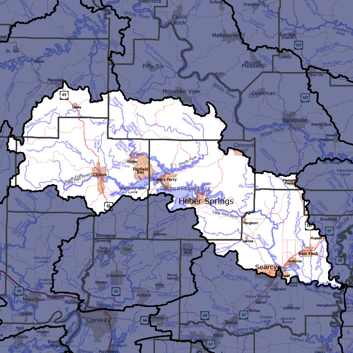 Little Red River Arkansas Map.Little Red Watershed 11010014